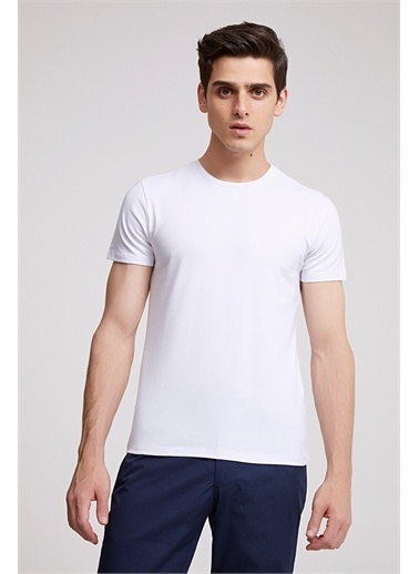 D'S Damat Ds Damat Slim Fit Vizon T-shirt Beyaz